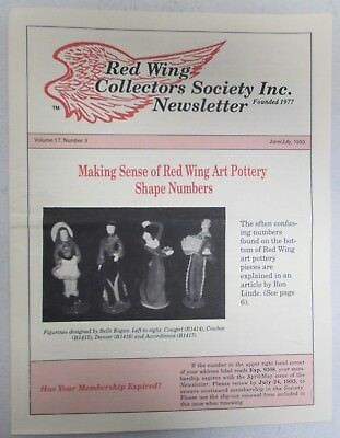Red Wing Collectors Newsletter June July 1993 Art Pottery Numbers Explained USA