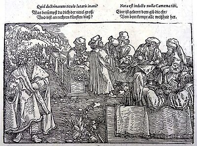 1532 Master of Petrach - Hans Weiditz woodcut leaf - University Scene