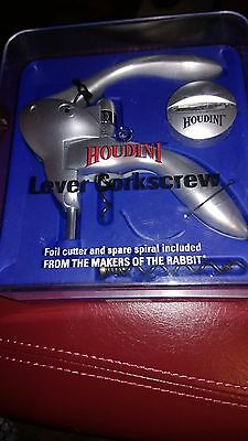 New Sealed Houdini 3 Piece Lever Corkscrew Set Wine Opener Foil Cutter Silver