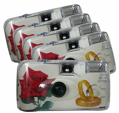 TopShot 376090Golden Roses Disposable 40027with Built-in Flash Pack of 5, White