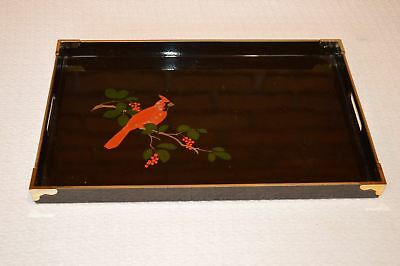 "Otagiri Black Serving Tray with Embossed Cardinal Brass Accents 17 3/4"" x 11 GC"