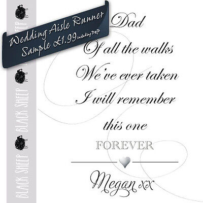 """/""""Dad Of All The Walks/"""" 45ft Personalised Fabric Church Wedding Aisle Runner"""