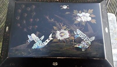Antique Oriental Box With Mother Of Pearl Inlay