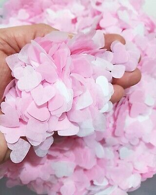 3000 small Confetti HEART Light pink and white Wedding /party biodegradable