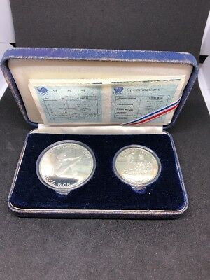 1988 Seoul Olympic Silver Proof 10000 & 5000 Won Diver & Tug Of War 2 Coin Set