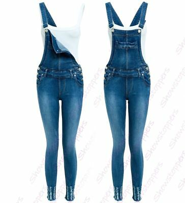 Dungaree Skinny Fit Stretch Denim Blue Womens Size 8 10 12 14 Ladies Dungarees