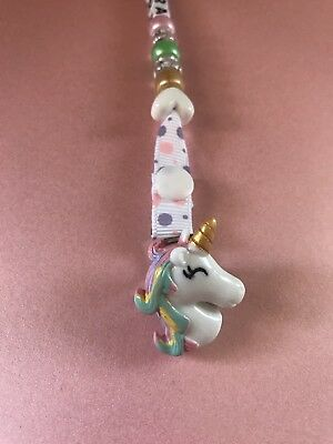 Personalized UNICORN  Dummy / Soother Clip With Baby's Name ~ NEW ~