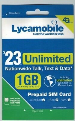 Preloaded LYCAMOBILE 3in1 SIM Card $23/$29 PLANS 1 OR 2 Months