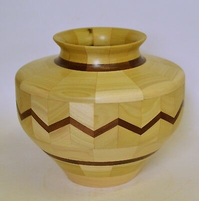 Beautifull Handcrafted Segmented Turned Wood Vase 3000 Picclick