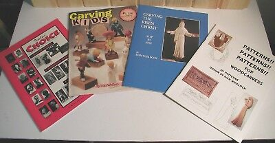 4 Unused Wood Carving Books - OVER 75 PATTERNS! - Beginner, Whillock, Kaisersatt