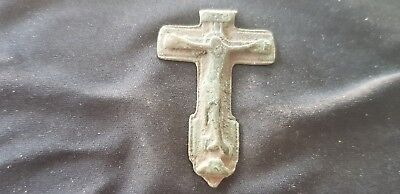 Very rare Beautiful Post Medieval bronze Crucifix in uncleaned con. UK find L95z