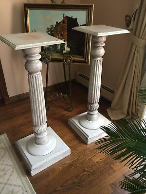 "2 beautiful hand painted pedestals 3'6""x 17""x17"""