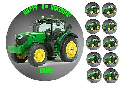 Green Farm Tractor 75 Round Edible Birthday Cake Topper Cupcake Toppers