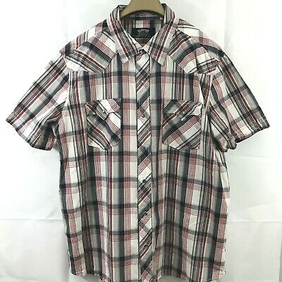 Signature Levi Strauss & Co Men Shirt XL Red Grey White Plaid Pearl Snap Western