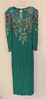 Vtg Alyce Designs Bright Green EVENING DRESS Gown Beads Sequins Size 8