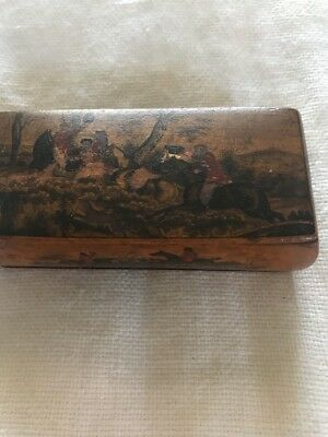 ANTIQUE 19thc Wooden Box MiniatureLACQUER  BOX TWO SEATED Hunt Of The Fox SCENE
