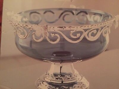 Silver Plated Decorative Bowl With Ink Blue Glass Bowl From Belk
