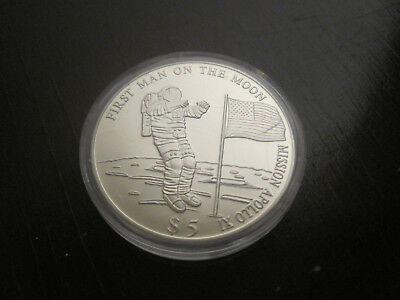 Liberia 2000 Five Dollars -First Man on the Moon, 33mm,ca.15gr.  #1009