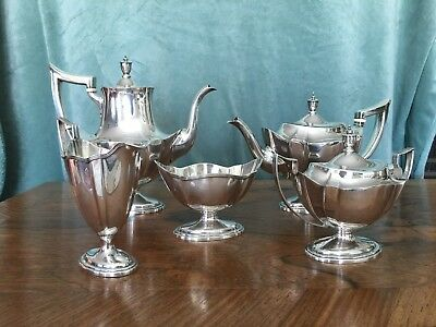 Gorham Sterling Silver Five Piece Coffee Tea Service 5 Pc Set Plymouth Pattern
