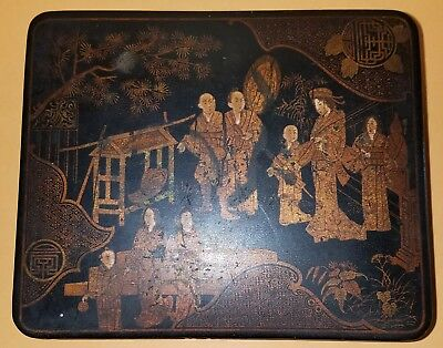 Temple Visit by Royalty Scene, Japanese Late 19th Century Hinged Lid Lacquer Box