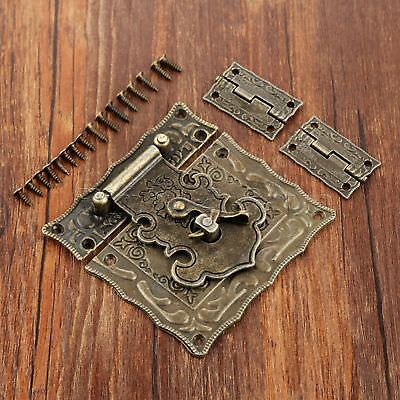 Retro Rectangle Carved Jewelry Box Chest Buckle Toggle Latch Hasp Hook & Hinges