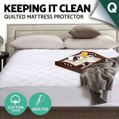 Queen Fully Fitted Cotton Cover Quilted Bed Mattress Protector Bedding Topper