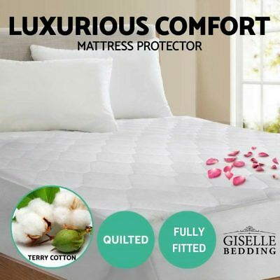 King Fully Fitted Cotton Cover Quilted Bed Mattress Protector Bedding Topper