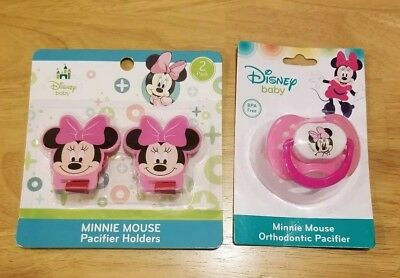Disney 2 Pack Minnie Mouse Pacifier Holders and Pacifier