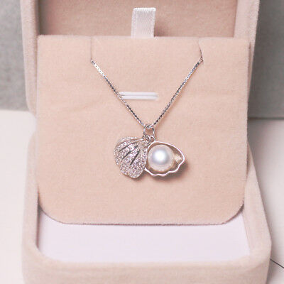 Fashion 925 Sterling Silver Freshwater Pearl Scallops Pendant Necklace