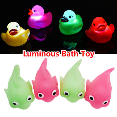 LED Flashing Light Rubber Floating Duck Bath Toy Kids Tub Shower Funny Toys