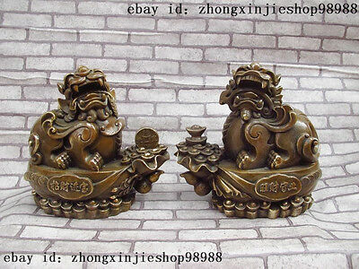 China old Bronze Copper Lucky Fengshui Foo Dog Lion Brave troops Pi Xiu Pair
