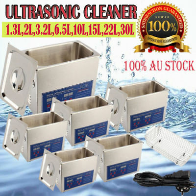 Digital Stainless Ultrasonic Cleaner Ultra Sonic Bath Cleaning Tank Timer Au