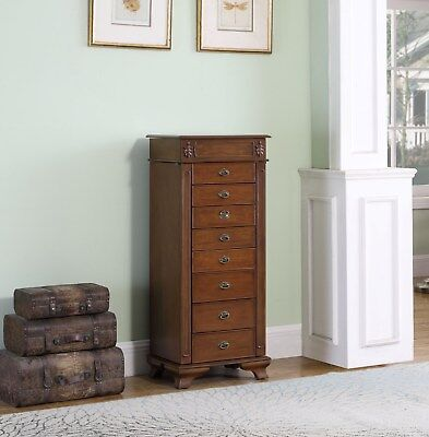 8 Drawer Jewelry Armoire with mirror lid and ring rolls all felt lined.