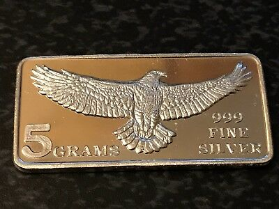 5 GRAM Pure 999 Fine Silver Fractional Bars - Made By Monarch Precious Metals