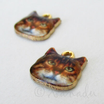 4 Cat Charms Gold Plated Enamel Adorable and Realistic E339