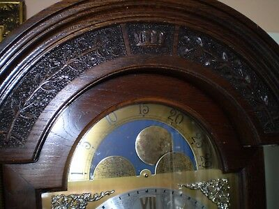 Superb oak chiming grandfather clock by Smallcombe of  Essex .