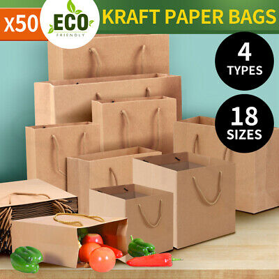 50 x Kraft Brown Paper Carry Bags Gift Carry Shopping Bags Bulk Handles 4 Types
