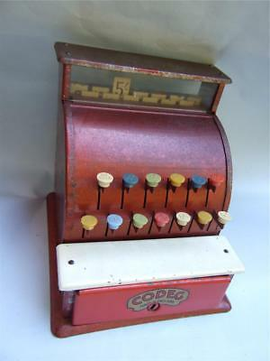Antique  '' CODEG '' Red Tin Toy Cash Register Made in England 1920's