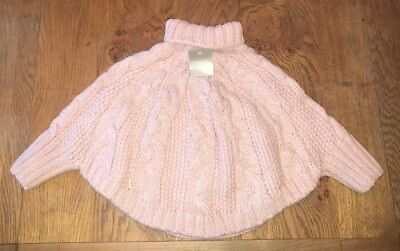 Next Girl Gorgeous Pale Pink Cable Knit Poncho With Arms 🌸 - 3-4yrs - BNWT