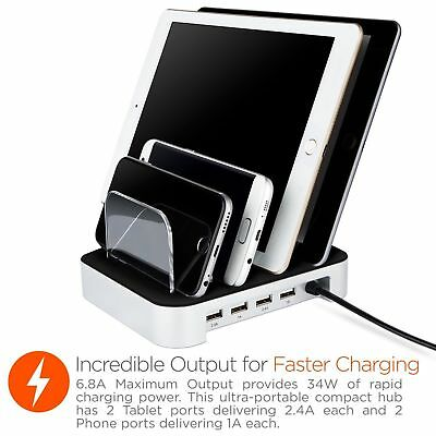 Desktop Quad Charger 6.8A 4 Port Charging Dock With 2 Tablet & 2 Phone Ports