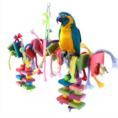 Parrot Pet Bird Chew Hanging Cage Toys Wood Large Rope Cave Ladder Chewing Toy