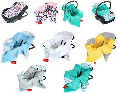 *** CAR SEAT BABY BLANKET / COSYTOES / SPRING / SUMMER / MINKY / NEW -Reversible