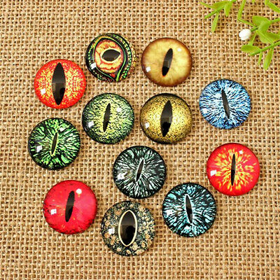 20pcs Mixed Colour Dragon Eye Glass Cameo Cabochons For Jewellery & Model Making