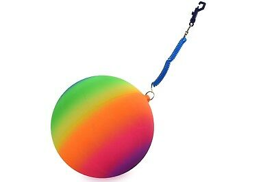 "Large 10"" Neon Rainbow Rubber Playground Play Beach Sport Ball Football Keychain"