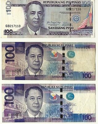 Philippines 3 Different 2009, 2010, 2014 100 Peso Bank Notes