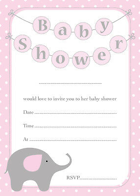 Baby Shower Invitations - 16 A6 Cards - PINK Elephant Theme - Girls Party Invite