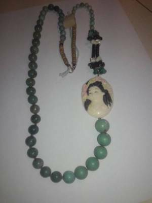 Vintage Chinese Turquoise Bead Carved Geisha Girl Necklace Signed