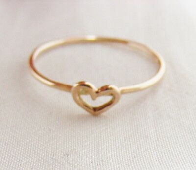 9ct Gold Open Heart Stacking Ring - Size I - Q c84aZxc