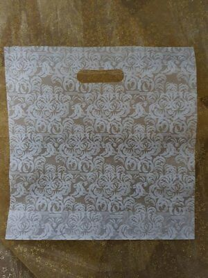 Box of NEW carrier bags Clear White Damask Style Print Approx 400