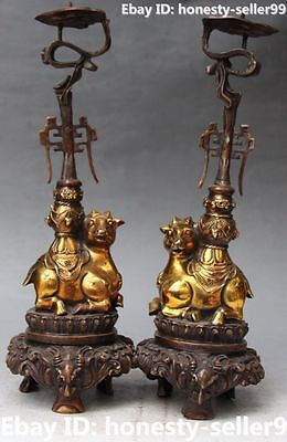 """14"""" Chinese Bronze Gilt Lion Sheep Beast Candle Holder Candlestick Pair Statue"""
